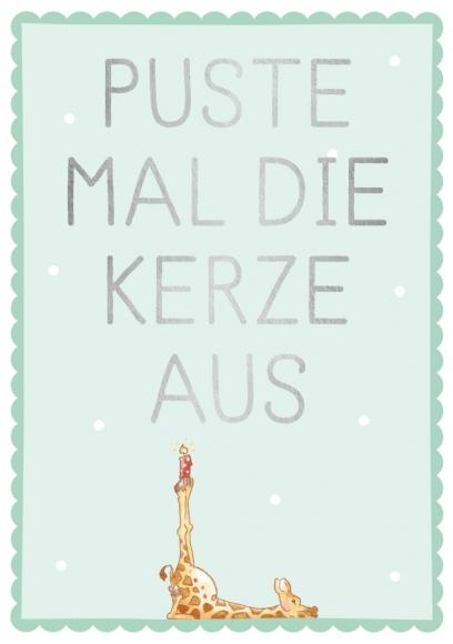 Postkarte: Puste mal die Kerze aus