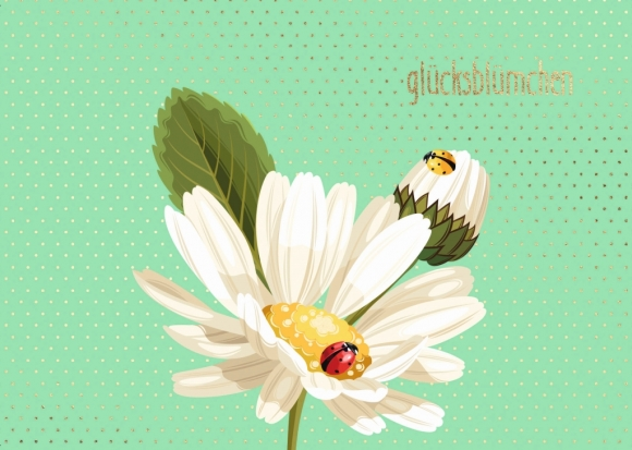 Postkarte: Marienkäfer - Glücksblümchen