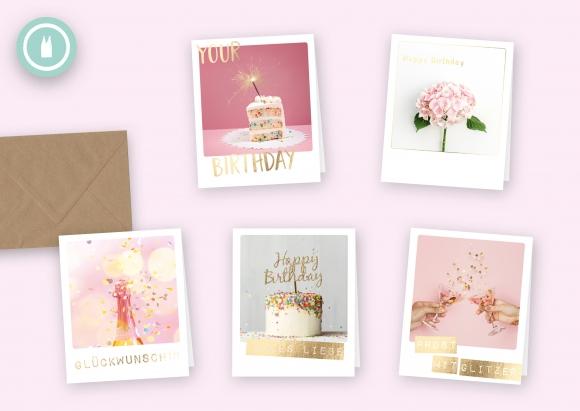 pink celebration * Set 5 Doppelkarten mit Umschlägen