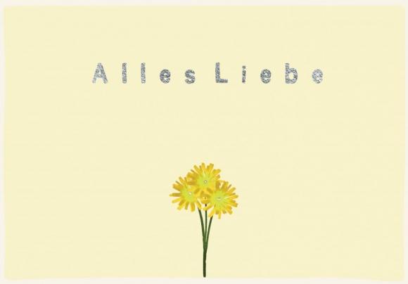 Doppelkarte: Alles Liebe. Gelbe Blume.