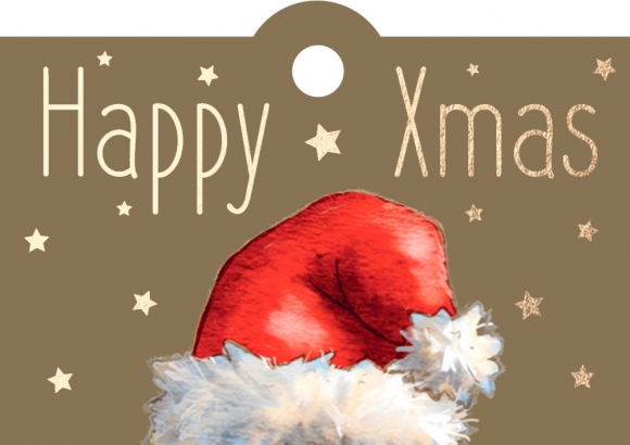 Geschenkanhänger: Weihnachtsmütze