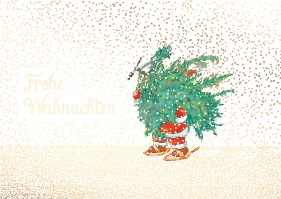 Postkarte: Weihnachtsmann trägt Tanne