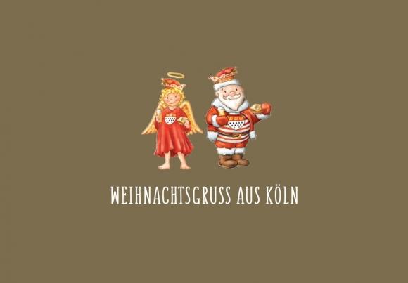 Doppelkarte: Weihnachtsgruß aus Köln - Christkind / Weihnachtsmann