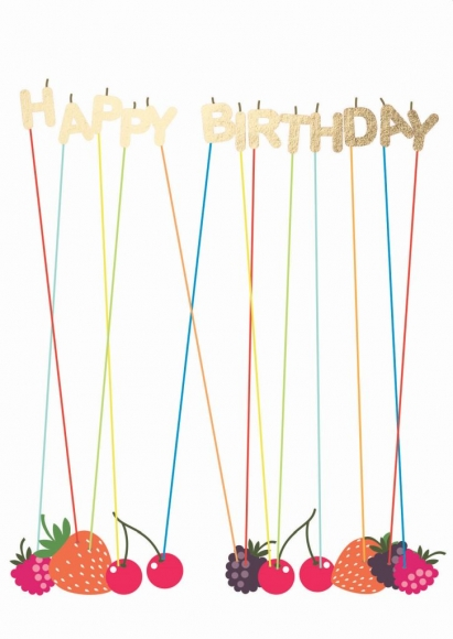 Doppelkarte: Happy Birthday - Beeren-Geburtstag