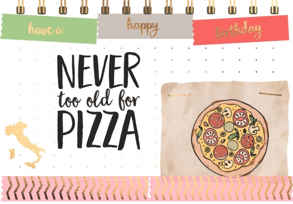 Postkarte: Never too old for pizza
