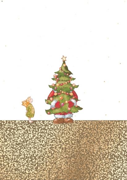 Postkarte: Versteckspiel Weihnachtsmann und Engel
