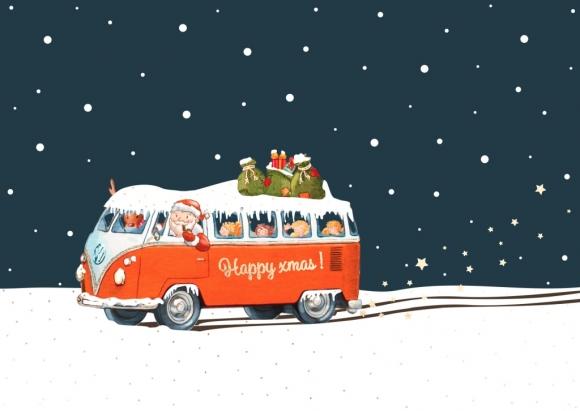 Postkarte: Transporter x-mas