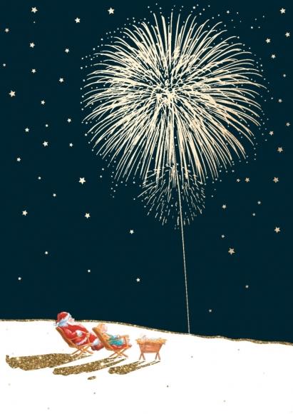 Postkarte: Feuerwerk in Liegestühlen