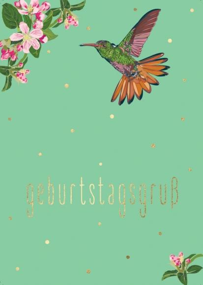 Postkarte: Kolibri Geburtstagsgruß