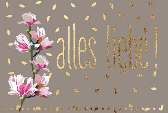 Mini-Doppelkarte: Magnolien - Alles Liebe