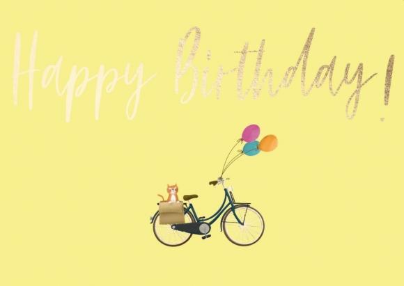Doppelkarte: Happy Birthday - Fahrrad mit Katze