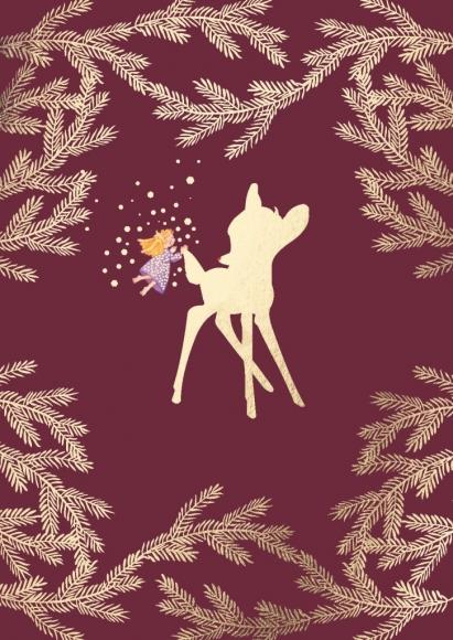 Postkarte: Bambi mit Engel