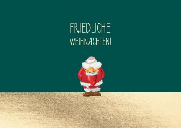 Postkarte: Weihnachtsmann, auf dem Rücken Engel in Mütze