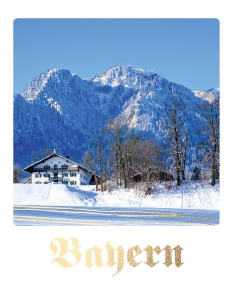 Postkarte: Bayern - Haus und Berge im Schnee