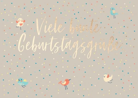 Postkarte: Viele bunte Geburtstagsgrüße