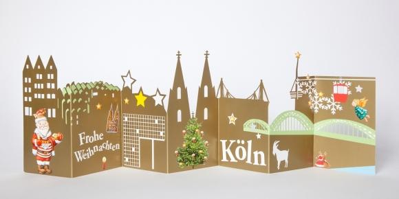 Ziehharmonikakarte Köln - Frohe Weihnachten