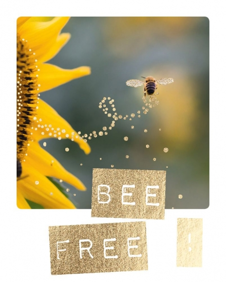 Mini-Postkarte: Bee free!