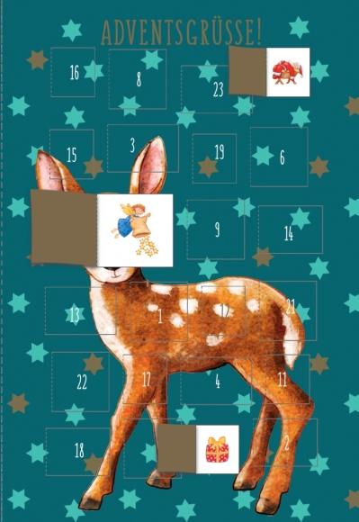 Adventskalender-Doppelkarte: Adventsgrüße - Hirsch