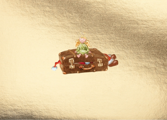 Postkarte: Engel auf Koffer
