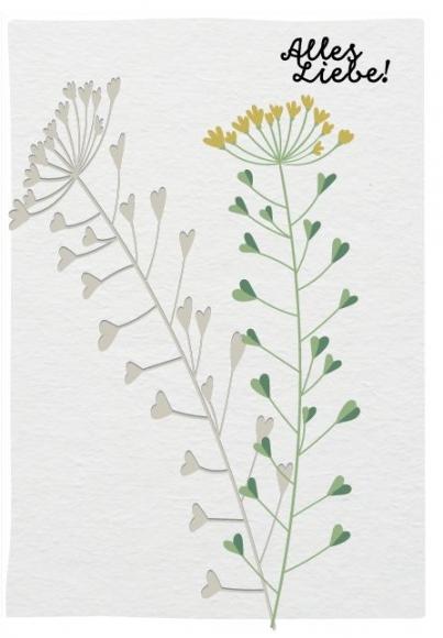 Doppelkarte: Alles Liebe! Blume mit Herzen