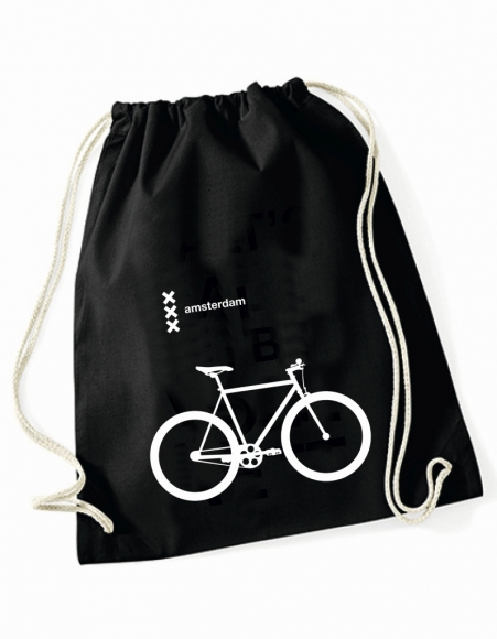 Turnbeutel Amsterdam - 3 Kreuze und Rennrad schwarz