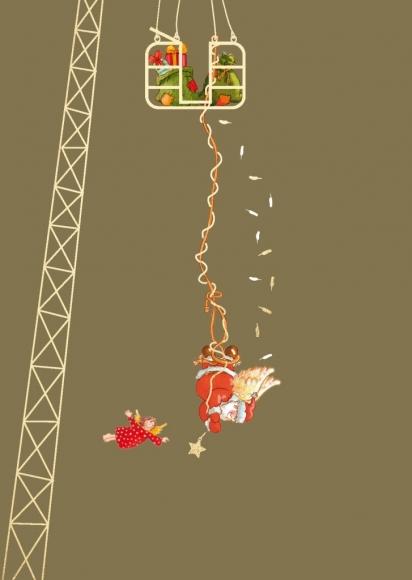Postkarte: Bungee-Jumping - Weihnachtsmann und Engel
