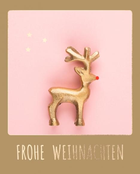 Postkarte: Rentier Frohe Weihnachten