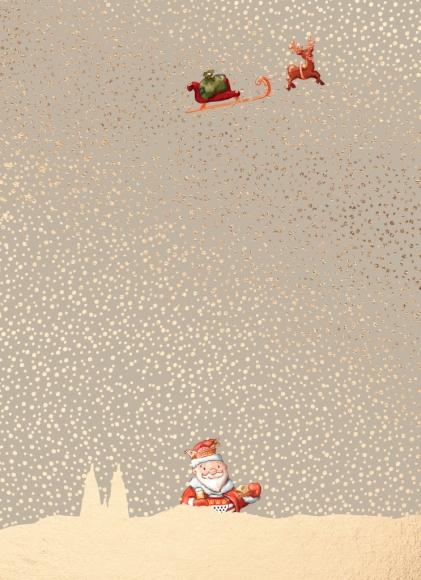 Doppelkarte: Kölscher Weihnachtsmannn im Schnee