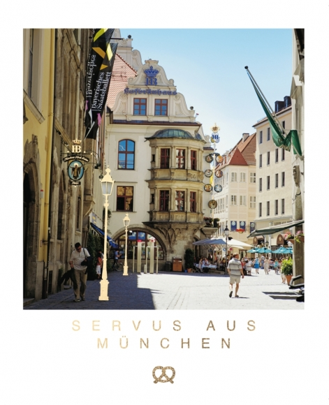 Postkarte: Servus aus München - Hofbräuhaus