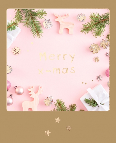 Doppelkarte: Weihnachtsbaumschmuck Merry x-mas