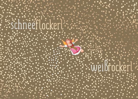 Postkarte: schneeflockerl weißrockerl