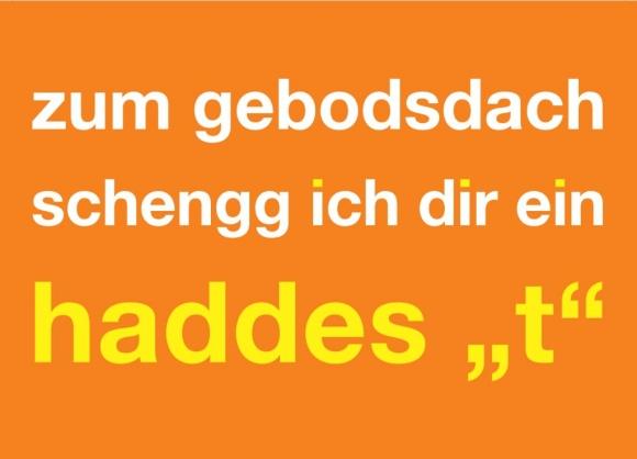 """Postkarte: zum gebodsdach schengg ich dir ein haddes """"t"""""""