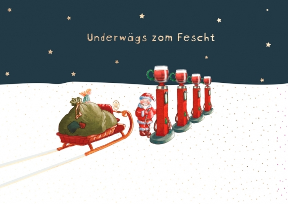 Postkarte: Underwägs zom Fescht