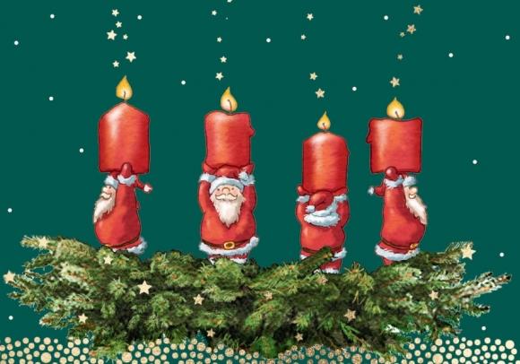 Mini-Doppelkarte: Adventskranz mit Weihnachtsmännern
