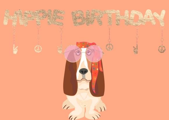 Doppelkarte: Hippie Birthday