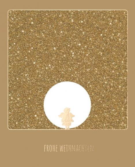 Doppelkarte: Engel vor goldenem Hintergrund - Frohe Weihnachten