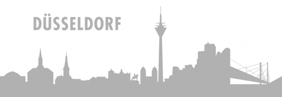 Autoaufkleber Düsseldorf Skyline silber
