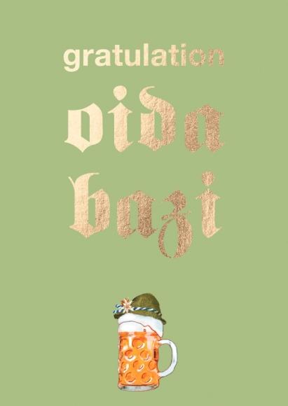 Postkarte: gratulation oida bazi