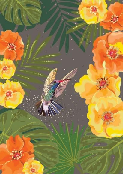 Postkarte: Kolibri mit gelber Blüte
