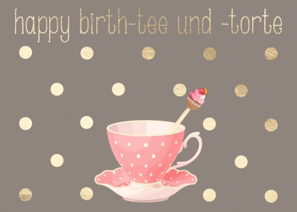 Postkarte: Happy Birth-tee und -torte