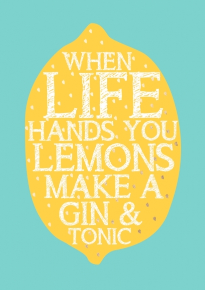 Postkarte: When life hands you lemons make a gin & tonic