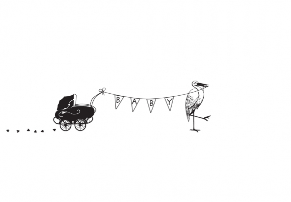 Doppelkarte: Baby - Storch und Kinderwagen