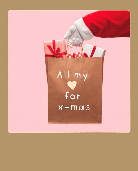 Postkarte: Geschenktüte All my love for x-mas
