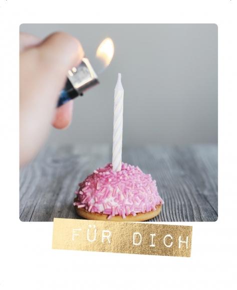 Postkarte: Für Dich - Cupcake mit Kerze