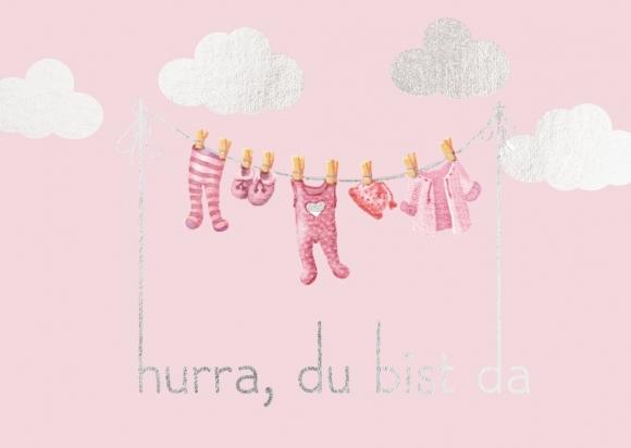Doppelkarte: Hurra, Du bist da - rosa