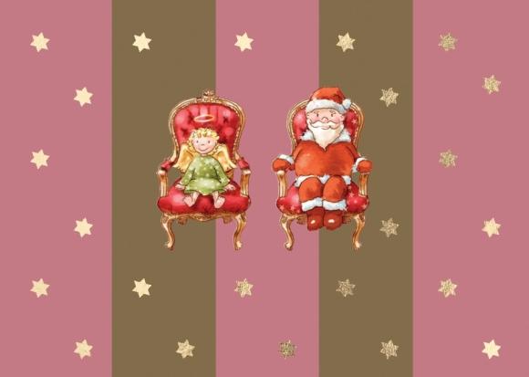 Mini-Doppelkarte: Weihnachtsmann und Christkind auf Thronen