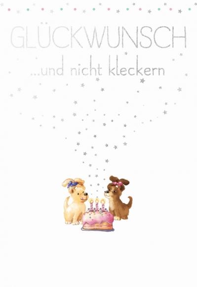 Postkarte: Glückwunsch und nicht kleckern