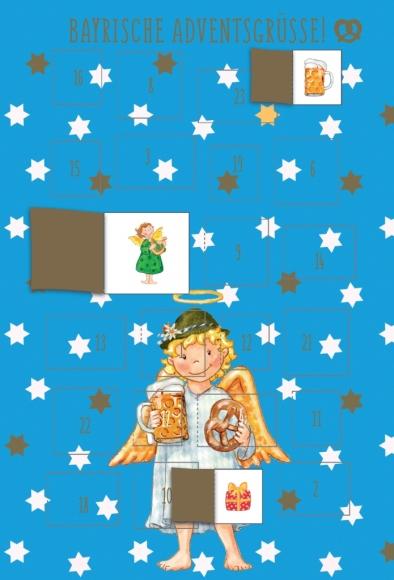 Adventskalender-Doppelkarte: Bayrische Adventsgrüße - Engel