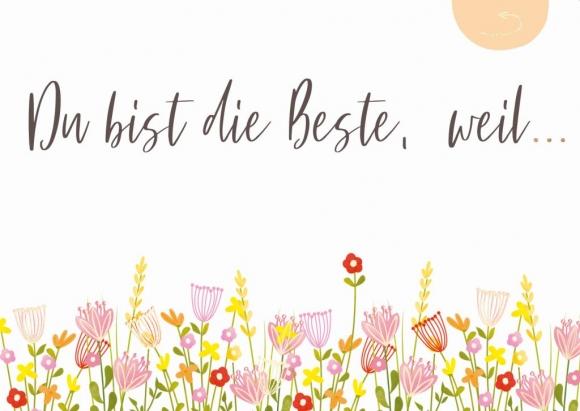 Postkarte: Du bist die Beste, weil... - Blumenwiese