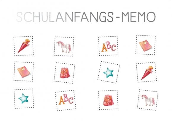 Postkarte: Schulanfangs-Memo - rosa